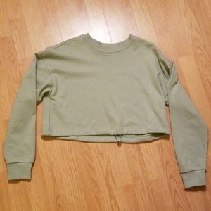 Small sage green cropped sweater
